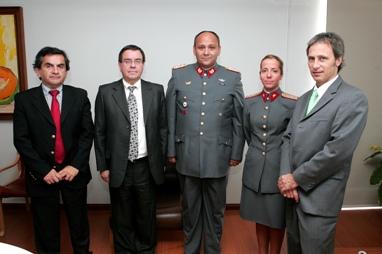 Sergio Hernández, Víctor Lobos, José Miguel Vial, teniente Paloma Frei y Sergio Amunátegui