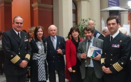Capitán de Navío, Cristián Figari; Marianne Stein, Romolo Trebbi; Gloria Carranza, Armando Roa y Capitán de Navío, Leonel Muñoz.