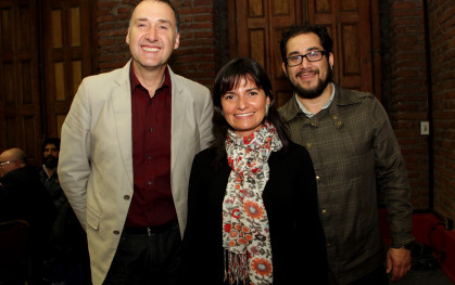Allan Urban, Andrea Detmer, Subdirectora de Innovación PUC, y Camilo Rodríguez