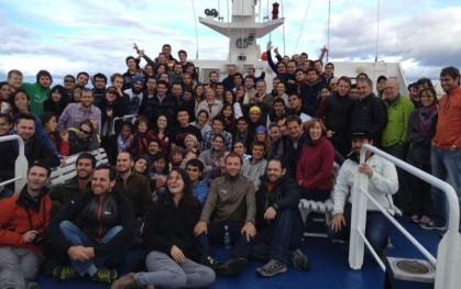 Todo el grupo en el E-Ship