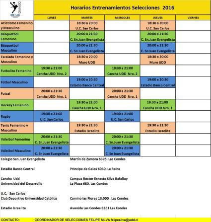 Horario Selecciones Deportivas 2016