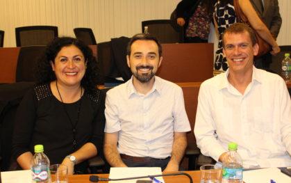 Expositores Paola Santander, Rodrigo Donoso y Wouter Schallier