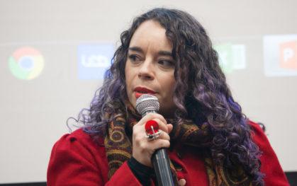 Antonella Estévez, periodista, investigadora, académica. Directora de FEMCINE y editora general de CineChile.cl y RadioDemente.cl.