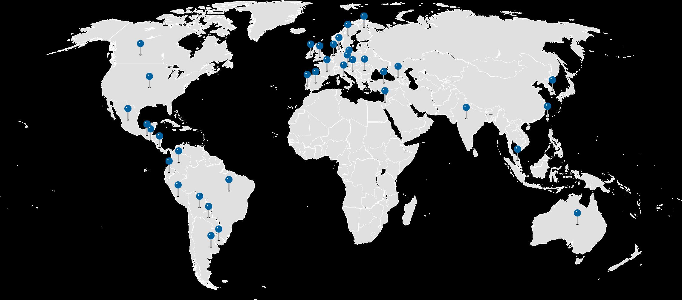 Mapa de países con convenio UDD